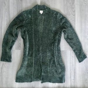 A New Day moss green chenille cardigan, XS